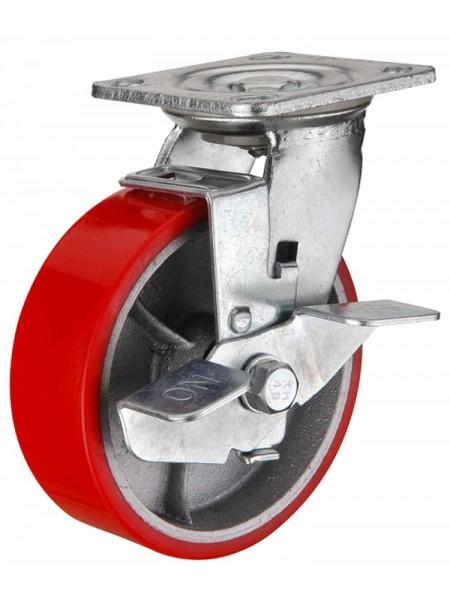 Колёса большегрузные поворотные с боковым тормозом (полиуретан)